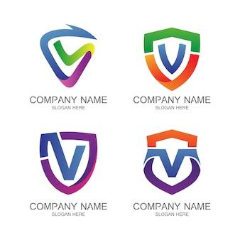 Letter v shield logo vector set
