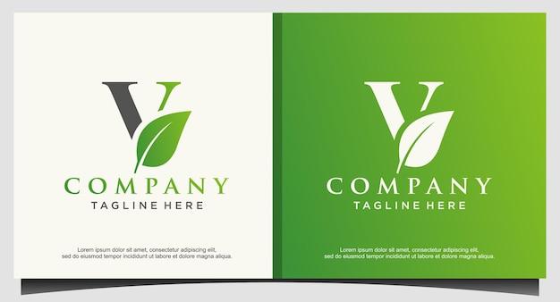 文字vビーガングリーン自然ロゴ