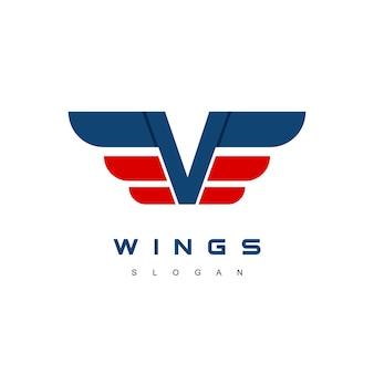 Буква v крылья логотипа дизайн шаблона