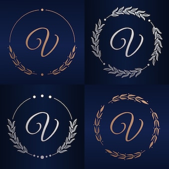 Буква v с шаблоном логотипа цветочной рамки
