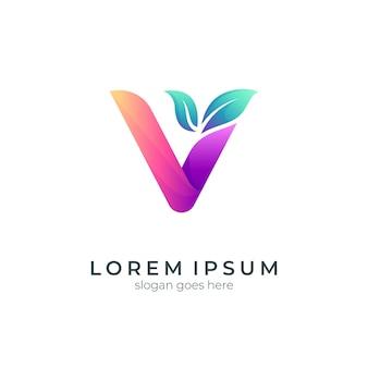 Буква v с дизайном логотипа листа