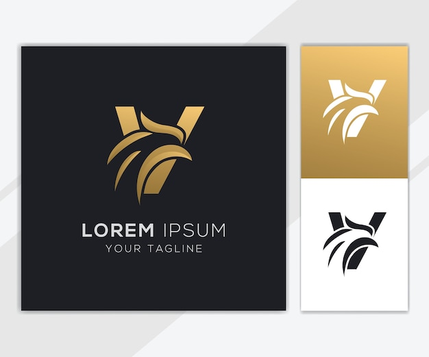 Letter v with luxury abstract eagle logo template