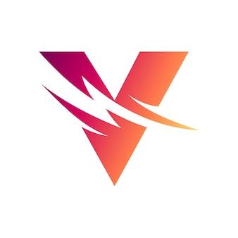 Letter v with thunder initial logo