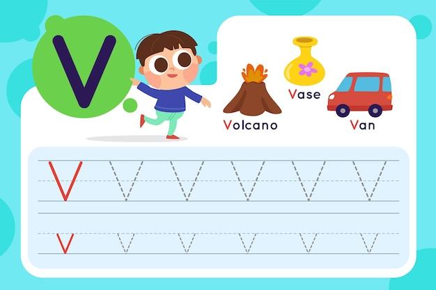 Letter v worksheet with volcano and vase