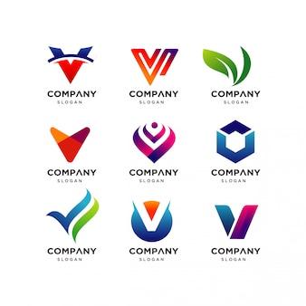 Коллекция шаблонов дизайна логотипа letter v