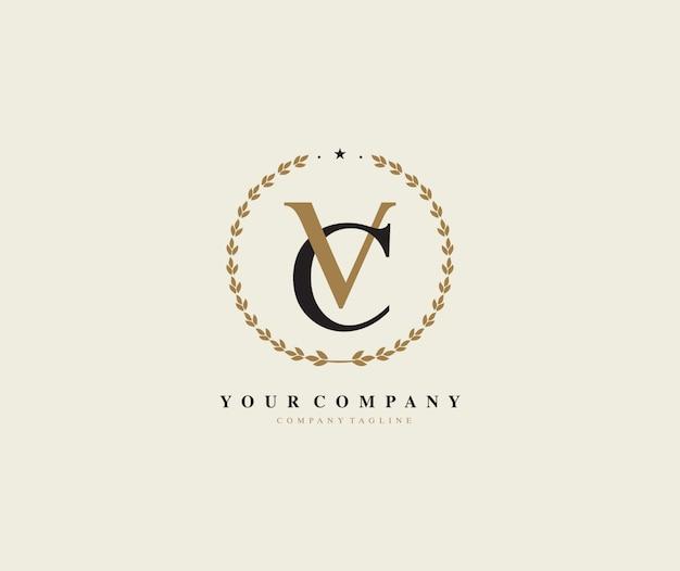 Буква vc лавровый венок векторный логотип