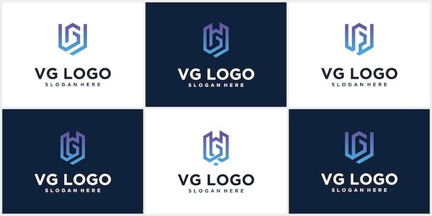 Дизайн логотипа letter vg creative minimal vg для логотипа monogram в роскошных градациях цветов