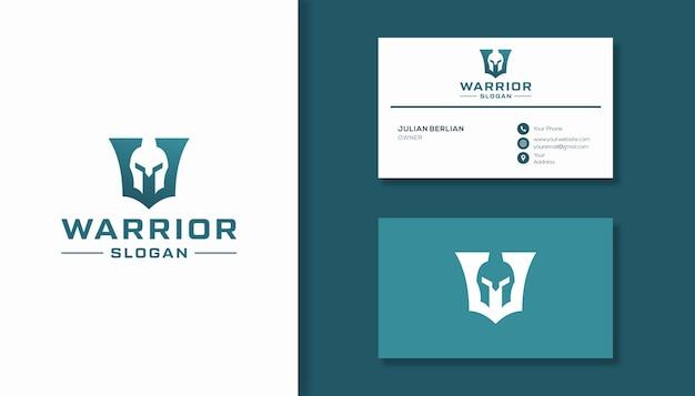 文字wと騎士の戦士のロゴの組み合わせ
