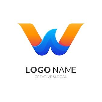 文字wと波のロゴのコンセプト、グラデーションの青と黄色の色でモダンなロゴのスタイル