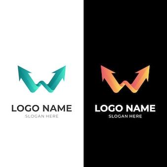 文字w矢印ロゴ、文字wと矢印、3d緑とオレンジ色のスタイルの組み合わせロゴ