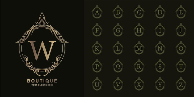Letter w or collection initial alphabet with luxury ornament floral frame golden logo template.