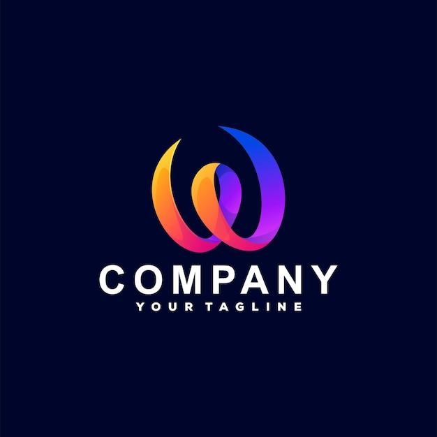 Буква w цветной дизайн логотипа