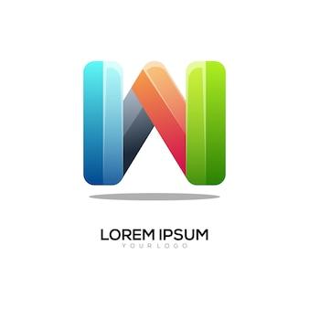 Letter w colorful logo design template modern