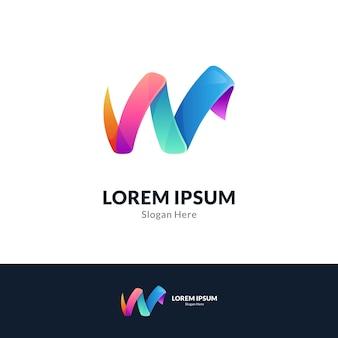 편지 w 다채로운 로고 템플릿