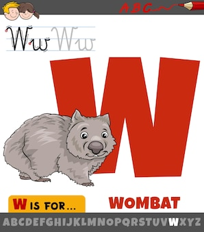 Letter w from alphabet with cartoon wombat animal character
