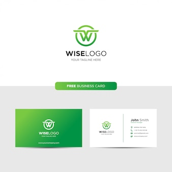 Letter w logo and business card