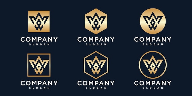 Letter w logo design template with gold color icon