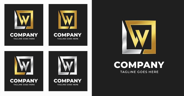 Letter w logo design template with square shape style