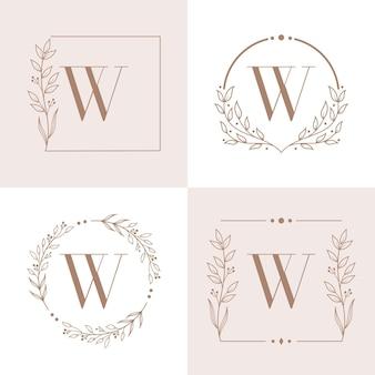 난초 잎 요소와 편지 w 로고 디자인