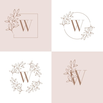Letter w logo design with orchid leaf element