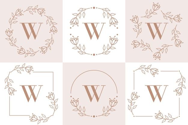 Letter w logo design with orchid leaf element