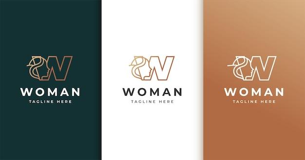 女性の顔と文字wのロゴデザイン