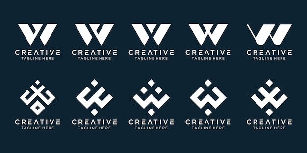Letter w logo icon set design for business of fashion sport technology simple