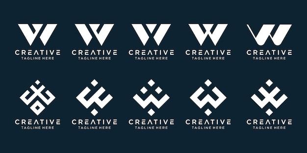 シンプルなファッションスポーツ技術のビジネスのための文字wロゴアイコンセットデザイン
