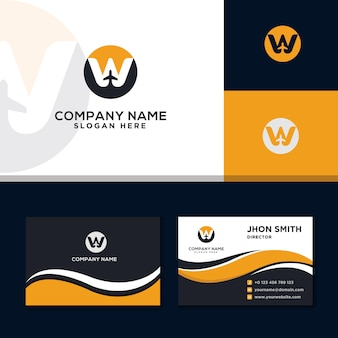 Letter w logo modern travel business card yellow background
