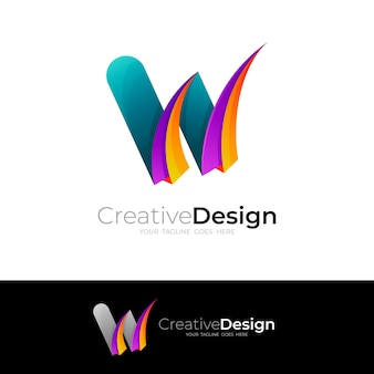 Letter w logo with colorful icon vector, 3d style