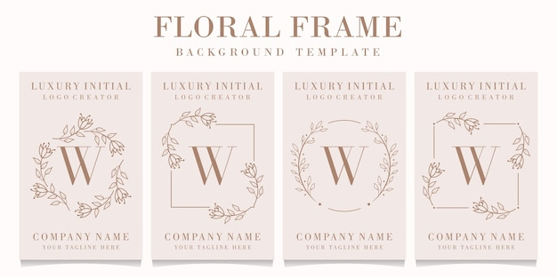Letter w logo with floral frame template
