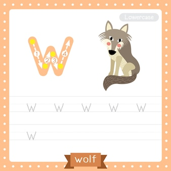 Letter w lowercase tracing practice worksheet. wolf