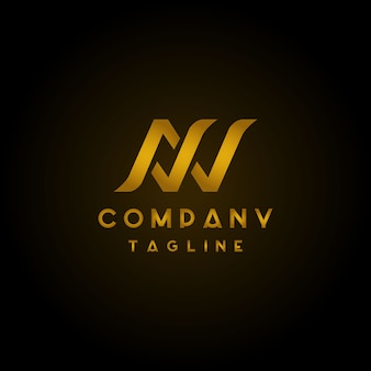 Letter a w luxury initial logo design with golden color