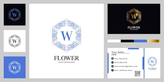 Letter w luxury ornament flower or mandala frame logo template design with business card.