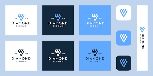 Letter w monogram logo and check mark with abstract diamond shapes