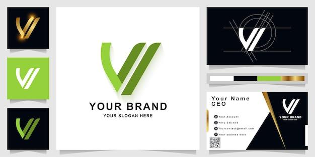 Шаблон логотипа вензеля буква w или vi с дизайном визитной карточки