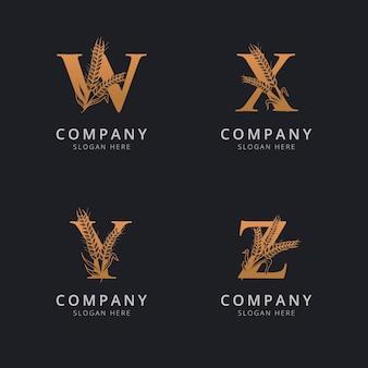 抽象的な小麦のロゴのテンプレートと文字wqyとz