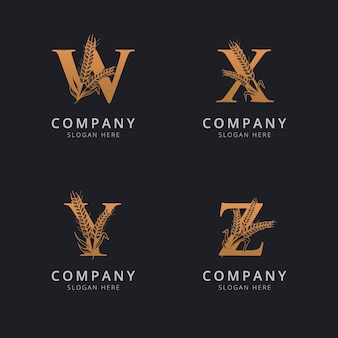 Letter w q y and z with abstract wheat logo template
