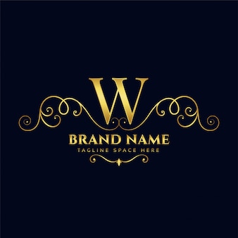 Lettera w royal vintage golden luxury logo concept