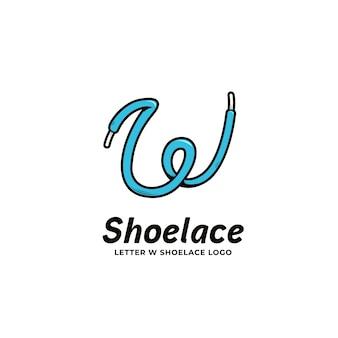 Letter w shoelace logo icon in bold cartoon style