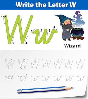 Letter w tracing alphabet worksheets