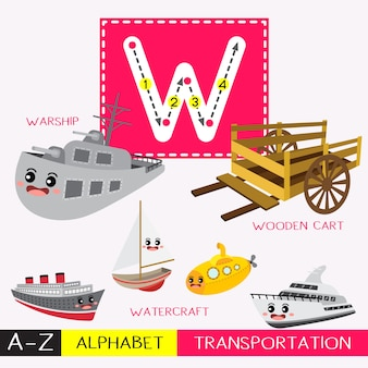 Letter w uppercase tracing transportations vocabulary