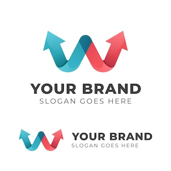 브랜드 또는 비즈니스 시작 기호에 대한 화살표 로고 디자인이있는 문자 w