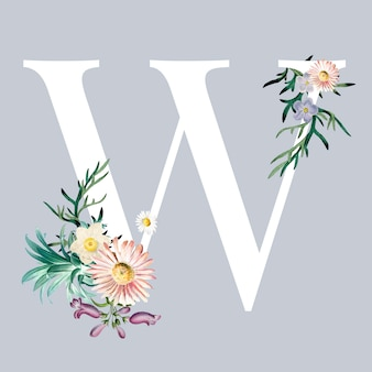 Letter w with blossoms
