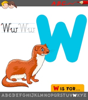 Letter w with cartoon weasel