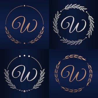 Letter w with floral frame logo template