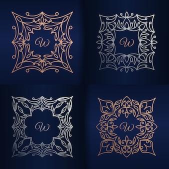 花のフレームのロゴのテンプレートと文字w