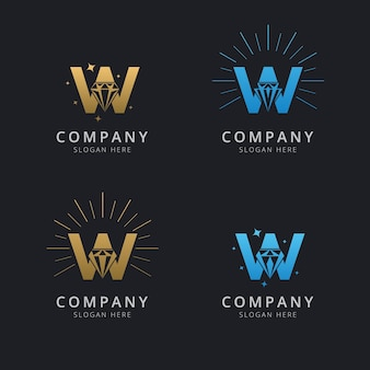 Letter w with luxury abstract diamond logo template