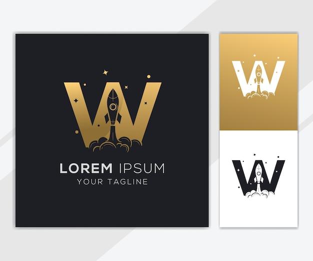 豪華な抽象的なロケットのロゴのテンプレートと文字w