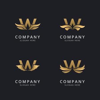 Буква w с роскошным абстрактным шаблоном логотипа крыла